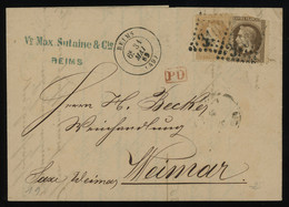 """TREASURE HUNT [02013] France 1869 Cover From Reims, With Napoleon III 30c Brown+ 10c Bistre, Large Numerals """"3103"""" Pmk. - 1863-1870 Napoleone III Con Gli Allori"""