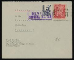 TREASURE HUNT [02017] Spain 1930s Cover Sent To Hamburg, Germany Bearing Queen Isabela 5c Blue + Pro Sevilla 5c Carmine - Lettres & Documents