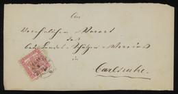 TREASURE HUNT [02018] Baden 1860s Front Cover Sent From Überlingen To Karlsruhe Franked With 3kr Rose, Single Franking - Baden