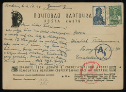 TREASURE HUNT [02019] Russia 1940 Picture Post Card To Emsdetten, Germany Bearing 10k Blue+20k Green, Swastica Cachet - Lettres & Documents