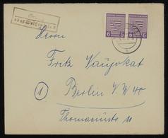 TREASURE HUNT [02041] SBZ Saxony 1946 Cover Sent From Weissenfels To Berlin Bearing IMPERF 6 Pf Violet Pair, Framed Pmk. - Sowjetische Zone (SBZ)