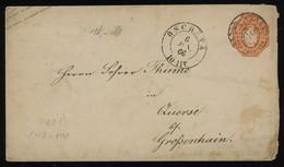 TREASURE HUNT [02053] Saxony 1866 1/2 Ngr Orange Postal Stationery Envelope Sent From Oschatz, Clear Postmark On Front - Sachsen