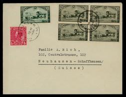 TREASURE HUNT [02061] Belgium 1936 Cover Sent To Switzerland, W/ International Stamp Exhibition 10c Block Of 4 + Others - Briefe U. Dokumente