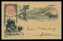 TREASURE HUNT [02069] Switzerland 1893 Illustrated Post Card (Jubilaumspostkarte- Diligence Coach), Sent To Zürich - Briefe U. Dokumente