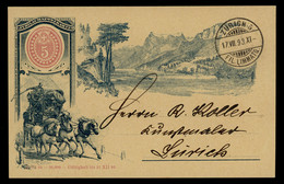 TREASURE HUNT [02073] Switzerland 1893 Ill. Post Card (Jubilaumspostkarte- Diligence Coach), Sent To Zürich, Clean C.d.s - Briefe U. Dokumente