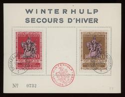 TREASURE HUNT [02090] Belgium 1943 Winter Help Numbered Presentation Sheet W/ Decorative Pmk. And Bruxelles Cancelation - Briefe U. Dokumente