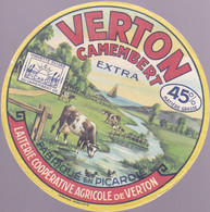 ÉTIQUETTE DE FROMAGE - CAMEMBERT VERTON EXTRA - FABRIQUÉ EN PICARDIE - Cheese