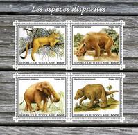 Togo 2021, Animals Exctinct, Elephant, Rhino, 4val In BF - Rhinoceros