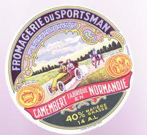 ÉTIQUETTE DE FROMAGE - FROMAGERIE DU SPORTSMAN - CAMEMBERT FABRIQUÉ EN NORMANDIE  40% 14 A.L. - Cheese