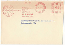 EMA Meter Slogan Commercial Cover Hasler / Ostermann Petersen Bros - 28 February 1961 København 22 - Cartas