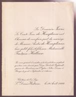 ADEL NOBLESSE = FILS DE COMPTE De HEMPTINNE AVEC  FRANCOISE HALLEUR  ST.DENIJS WESTREM 1929 - Wedding