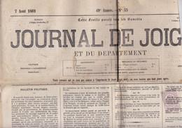 Rare ! Hebdomaaire Journal De Joigny Et Du Département, 7 Août 1869 - 1850 - 1899