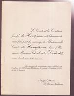 ADEL - DOCHTER VAN COMTE J.de HEMPTINNE ,CECILE De HEMTINNE MET CHARLES De DORLODOT  STEPPE STEDE ST.D. WESTREM - Wedding