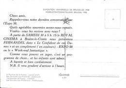 BRAINE-LE-COMTE-CARTE PUBLICITAIRE-CINEMA-ROYAL-FILM-FERNANDEL-EXPO 58-PAVILLON DE LA FRANCE-VOYEZ LES 2 SCANS-RARE! ! - Braine-le-Comte