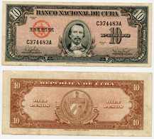 CUBA 1960 BANKNOTE 10 PESOS  P 79 -CAG 260821.286 - Cuba