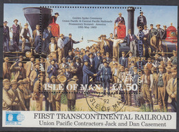 ISLE OF MAN Block 17, Gestempelt, Transkontinentale Eisenbahn In Den USA, 1992 - Man (Ile De)