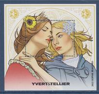 """Bloc 2021 Yvert Et Tellier Dessin De """"Sophie Beaujard"""" Neuf Gommé L'hiver Et L'été, Inspiration Alfons Mucha - CNEP"""