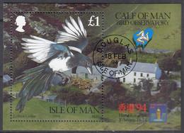 ISLE OF MAN Block 20, Gestempelt, Ornithologisches Observatorium Auf Calf Of Man, 1994 - Man (Ile De)
