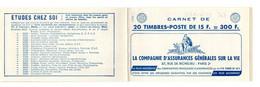 Carnet De Timbres 1011-C24 - Type Muller - 15 Fr. Rouge - Pub Rolla - Avia - Otros