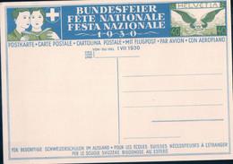 Fête Nationale Suisse 1930 Non Circulée, Entier Postal Aviation 40 Ct, Knabe Auf Schulbank (969) - Cartas