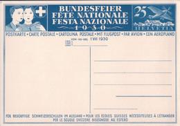 Fête Nationale Suisse 1930 Non Circulée, Entier Postal Aviation 25 Ct, Knabe Auf Schulbank (970) - Cartas