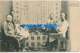 169980 CHINA MACAU COSTUMES OPIUM AND PIPE SMOKERS CIRCULATED TO SPAIN POSTAL POSTCARD - Chine