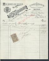 FACTURE ILLUSTRÉE DE LYON 1888 SUR TIMBRE FISCAUX J PETIT AUX ARMES DE LYON FRANÇAISES & ANGLAISES : - Revenue Stamps