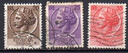 ITALIE N° 651 à 653 O Y&T 1953-1954 Monnaie Syracusaine - 1946-60: Used