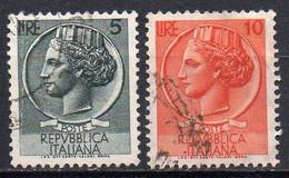 ITALIE N° 710 à 711 O Y&T 1955-1960 Monnaie Syracusaine - 1946-60: Used