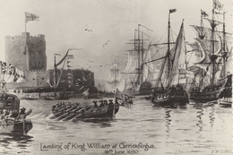 Medieval Ship Landing King William At Carrickfergus Irish Postcard - Non Classificati