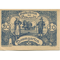 Billet, Autriche, Baumgarten, 20 Heller, Personnage 1921-02-28, SPL Mehl:FS 78a - Austria