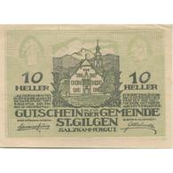 Billet, Autriche, St Gilgen, 10 Heller, Eglise 1920-10-15, SPL Mehl:FS 891a - Austria