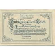Billet, Autriche, Pram, 10 Heller, Montagne, 1920, 1920-12-31, SPL, Mehl:FS 778a - Austria