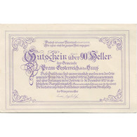 Billet, Autriche, Pram, 90 Heller, Portrait, 1920, 1920-12-31, SPL, Mehl:FS 778a - Austria