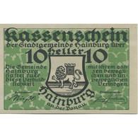 Billet, Autriche, Hainburg, 10 Heller, Blason 1920-12-31, SPL, Mehl:FS 337a - Austria