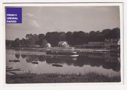 Fontaine Le Port Seine Et Marne Petite Photo Animée 1938 8x5,5cm Hôtel Du Pont Restaurant Péniche Navigation A56-66 - Places