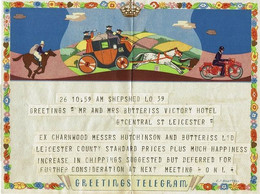 Music -  Great Britain -  Telegram ( Without Envelop ) -   Man Blows Horn , Horses And Motorcycle - Used   -  1952 - Musica