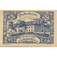 Billet, Autriche, Langacker, 50 Heller, Château 1920-12-31, SPL, Mehl:FS 500a - Austria