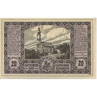 Billet, Autriche, Bergheim, 20 Heller, Eglise 1920-10-31, SPL, Mehl:FS 82I - Austria