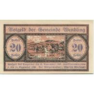 Billet, Autriche, Wendling, 20 Heller, Village 1920-12-15, SPL, Mehl:FS 1170a - Austria