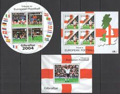 Z343 2000,2004 GIBRALTAR SPORT FOOTBALL TRIBUTE TO EUROPEAN FOOTBALL 2000 1BL+2KB MNH - Fußball-Europameisterschaft (UEFA)