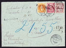 1891 Briefteil, 3 Farben Frankatur Aus Bremgarten Mit Stabstempel Arni-Islisberg Nach Jonen. - Briefe U. Dokumente