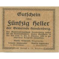 Billet, Autriche, Handenberg, 50 Heller, Paysage 1920-10-31, SPL, Mehl:FS 347a - Austria