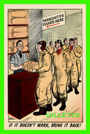 MILITARIA - PARACHUTES ISSUED HERE - IF IT DOESN'T WORK, BRING IT BACK ! - PUB BY E. H. WILKINSON & CO - - Humour
