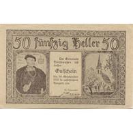 Billet, Autriche, Holzhausen, 50 Heller, Eglise 1920-09-30, SPL Mehl:FS 396a - Austria