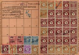 Lot De 13 Cartes De Quittance TIMBRES FISCAUX / SOCIO-POSTAUX / ALSACE LORRAINE - Revenue Stamps