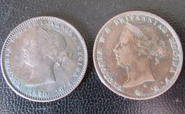 Jersey - 2 Monnaies : 1/26 Shilling Victoria 1870 Et 1/24 Shilling Victoria 1877 - Jersey