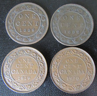 Canada - 4 Monnaies One Cent Victoria 1859, 1882, Edward VII 1919, 1920 - Canada