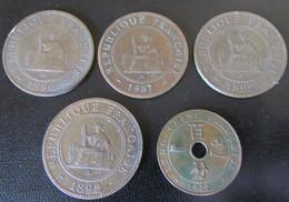 Indochine Francaise - 5 Monnaies De 1 Centimes Entre 1886 Et 1922 - Colonies
