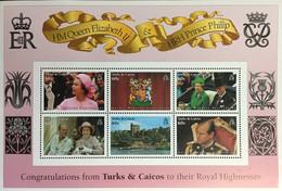 Turks & Caicos 1997 Golden Wedding Sheetlet MNH - Turks E Caicos